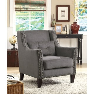 Silver Nailhead Trim Grey Linen Arm Chair
