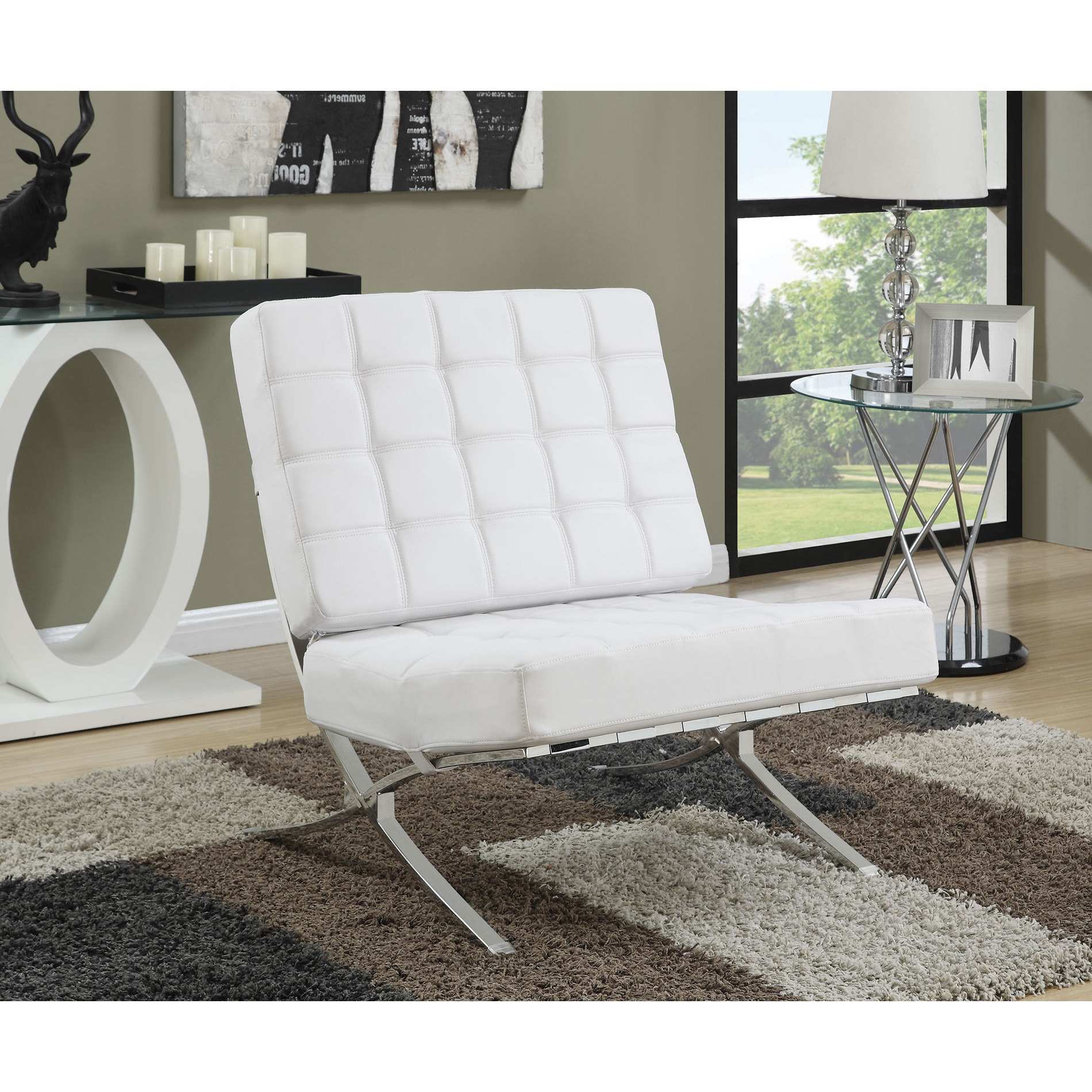 Coaster Company Leatherette X Chrome Base Accent Chair Ebay # Muebles Coaster
