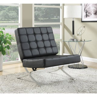 Leatherette 'X' Chrome Base Accent Chair