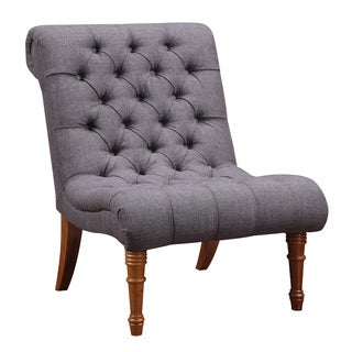 Tufted Woven Armless Accent Chair (Grey)