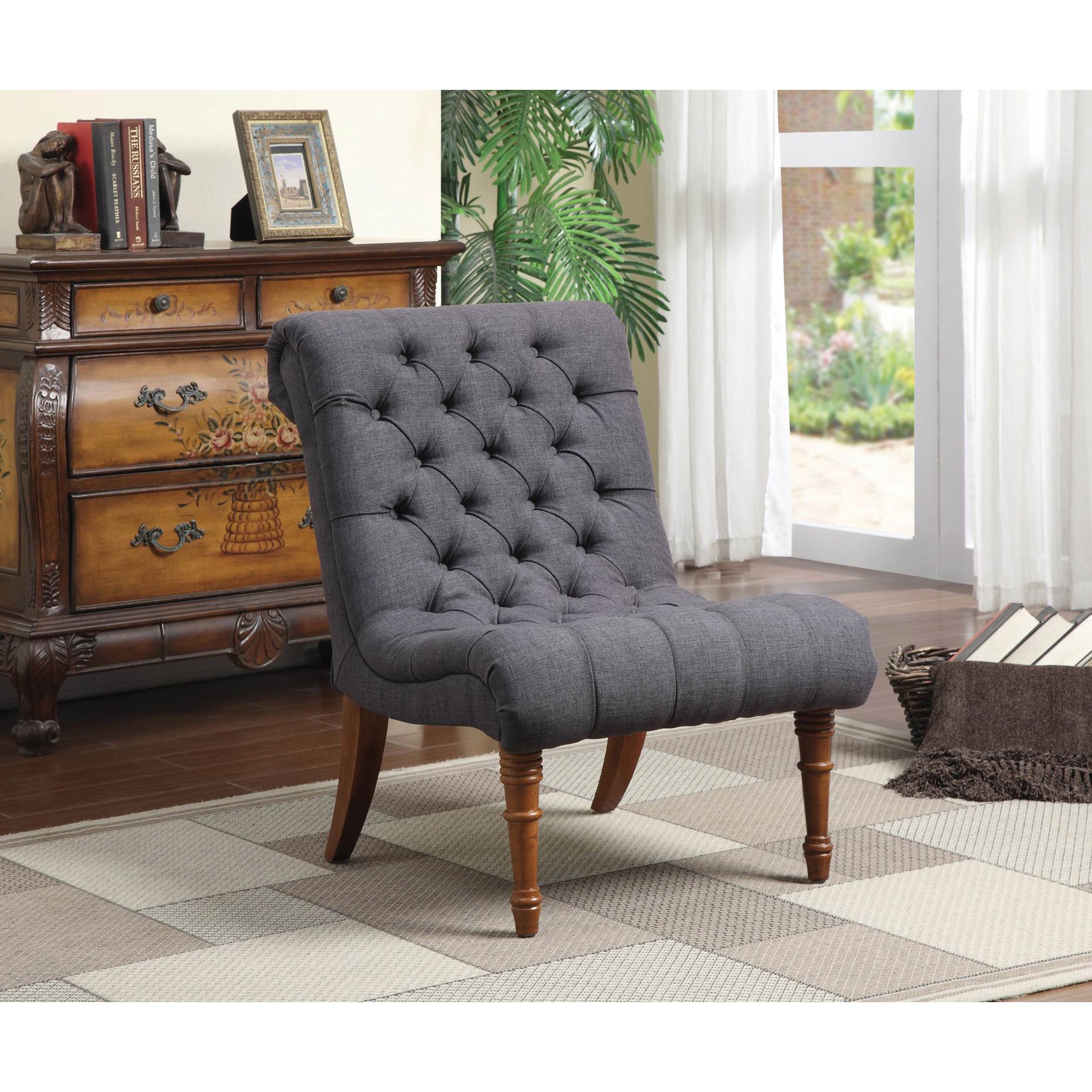 Coaster Company Tufted Woven Armless Accent Chair (Grey) | eBay