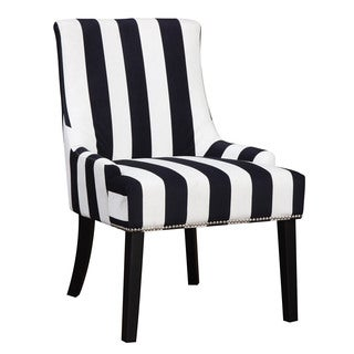 Black and White Striped Accent Chair