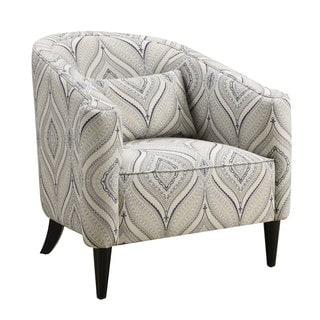 Trellis Blue and White Barrel Chair