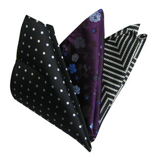 Dmitry Men's Multicolored Italian Silk Pocket Squares (Pack of 3)