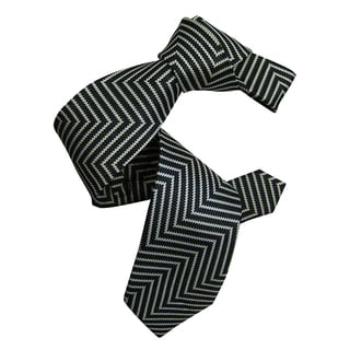 Dmitry Men's Black Patterned Silk Italian Tie