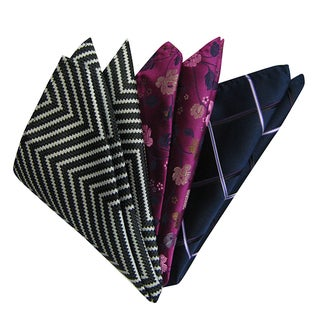 Dmitry Men's Multicolor Italian Silk Pocket Squares (Pack of 3)