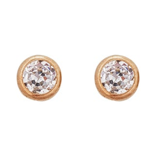 Decadence 14k Yellow Gold DC 4mm Heart CZ Bezel Screw Back Stud Earring