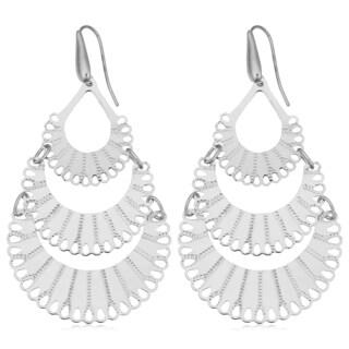 Argento Italia Rhodium Plated Sterling Silver Graduated Fan Dangle Earrings