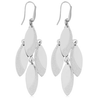 Argento Italia Rhodium Plated Sterling Silver Marquise Chandelier Earrings