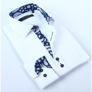 Coogi Mens White with Paisley Trim Dress Shirt