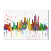 Marlene Watson 'New York New York Skyline Mclr-1' Canvas Art