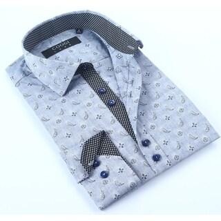 Coogi Mens Chambray Paisley Dress Shirt