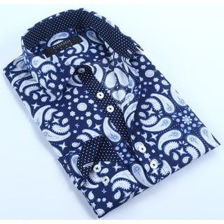 Coogi Mens Navy/Blue Paisley Dress Shirt