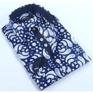 Coogi Mens Navy/Blue Paisley Dress Shirt