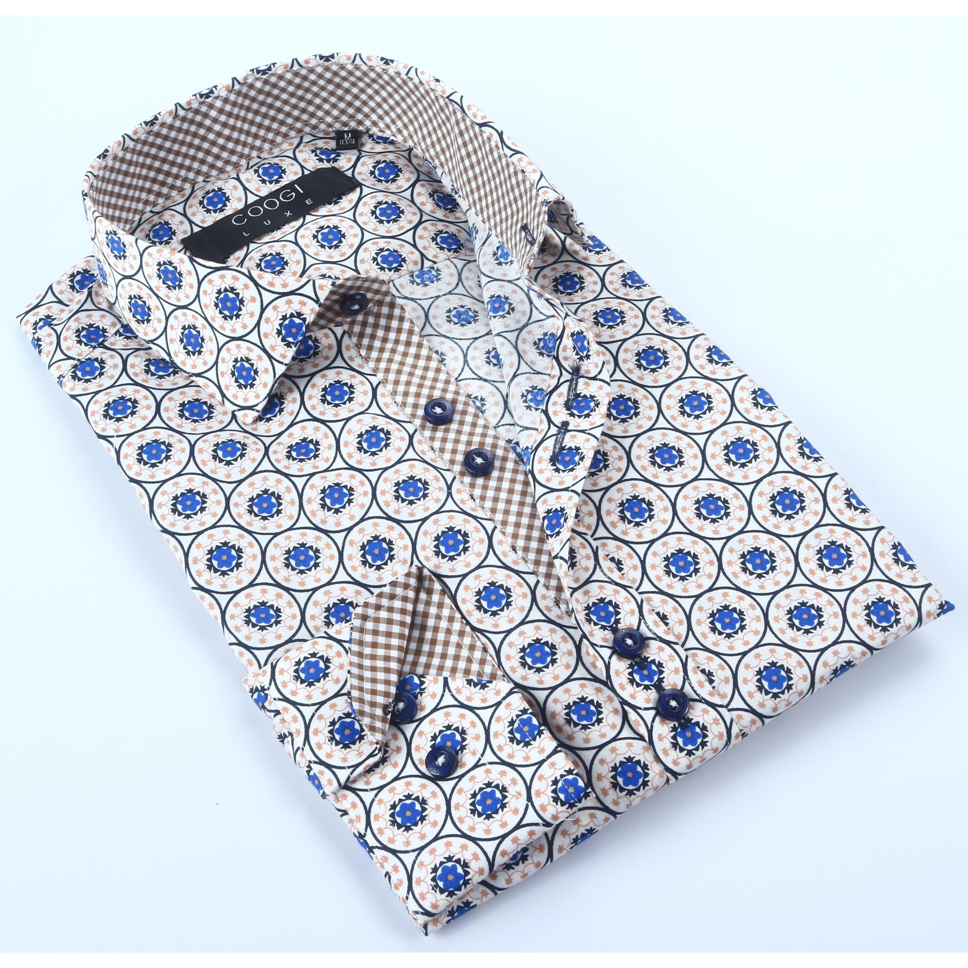 Coogi Mens Multi Print Dress Shirt (XLarge), Size: XL