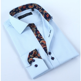 Coogi Mens Light Blue with Paisley Dress Shirt