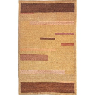 Abbyson Living Hand-knotted 'Moments' Gold Wool Rug (4' Round)