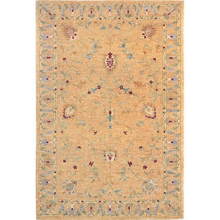 Abbyson Living Hand-knotted 'Memories' Gold Wool Rug (4' x 6')