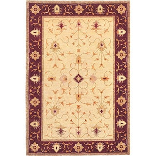Abbyson Living Hand-knotted 'Heiress' Gold Wool Area Rug (6' x 9')