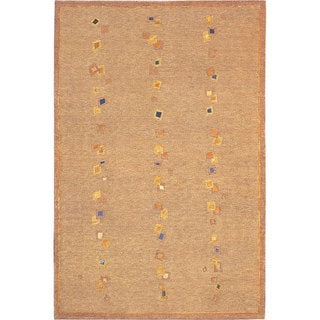 Abbyson Living Hand-knotted 'Napa' Gold/ Blue Wool Rug (6' x 9')