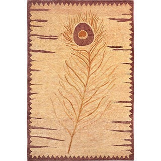 Abbyson Living Hand-knotted 'Napa' Gold/ Red Wool Rug (6' x 9')
