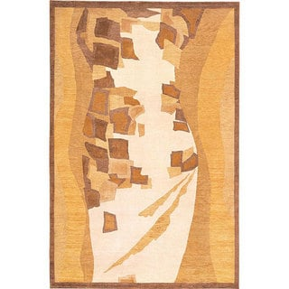 Abbyson Living Hand-knotted 'Charisma' Gold/ Brown Wool Rug (6' x 9')