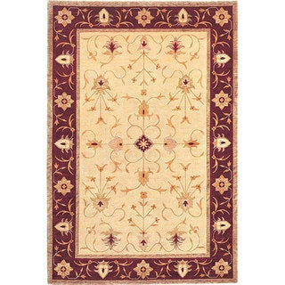 Abbyson Living Hand-knotted Ivory/ Brown 'Destiny' Wool Rug (6' x 9')