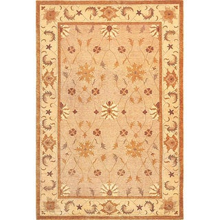 Abbyson Living Hand-knotted 'Destiny' Geometric-Print Gold Wool Rug (6' x 9')