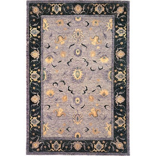 Abbyson Living Hand-knotted 'Jasmine' Gold Wool Rug (6' x 9')
