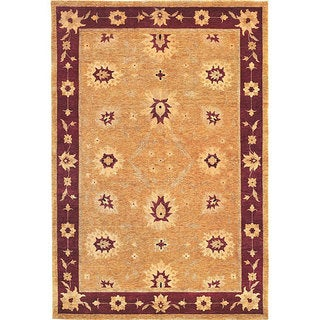 Abbyson Living Hand-knotted 'Harvest Moon' Gold Wool Rug (6' x 9')