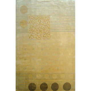 Abbyson Hand-knotted 'Harvest Moon' Gold Wool Oriental Rug (6' x 9')