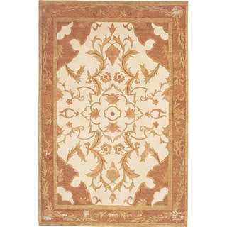 Abbyson Living Hand-knotted 'Oceans of Time' Gold Wool Rug (6' x 9')