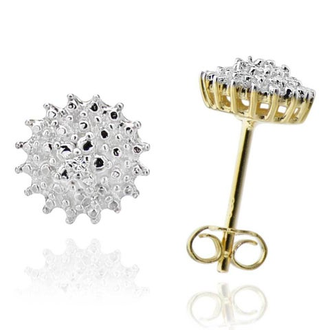Sterling Silver Two-Tone Diamond Accent Stud Earrings