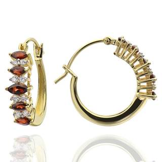 Sterling Silver 14k Gold-plated Mozambique Garnet and Cubic Zirconia Hoop Earrings