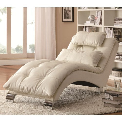 Coaster Furniture Modern Faux Leather Chaise (White)