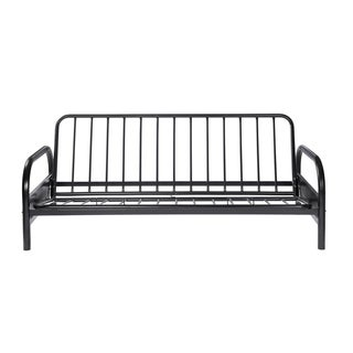 coaster company satin black metal futon frame