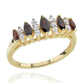 Sterling Silver 14Kt Gold-Plated Marquise Mozambique Garnet & CZ Ring