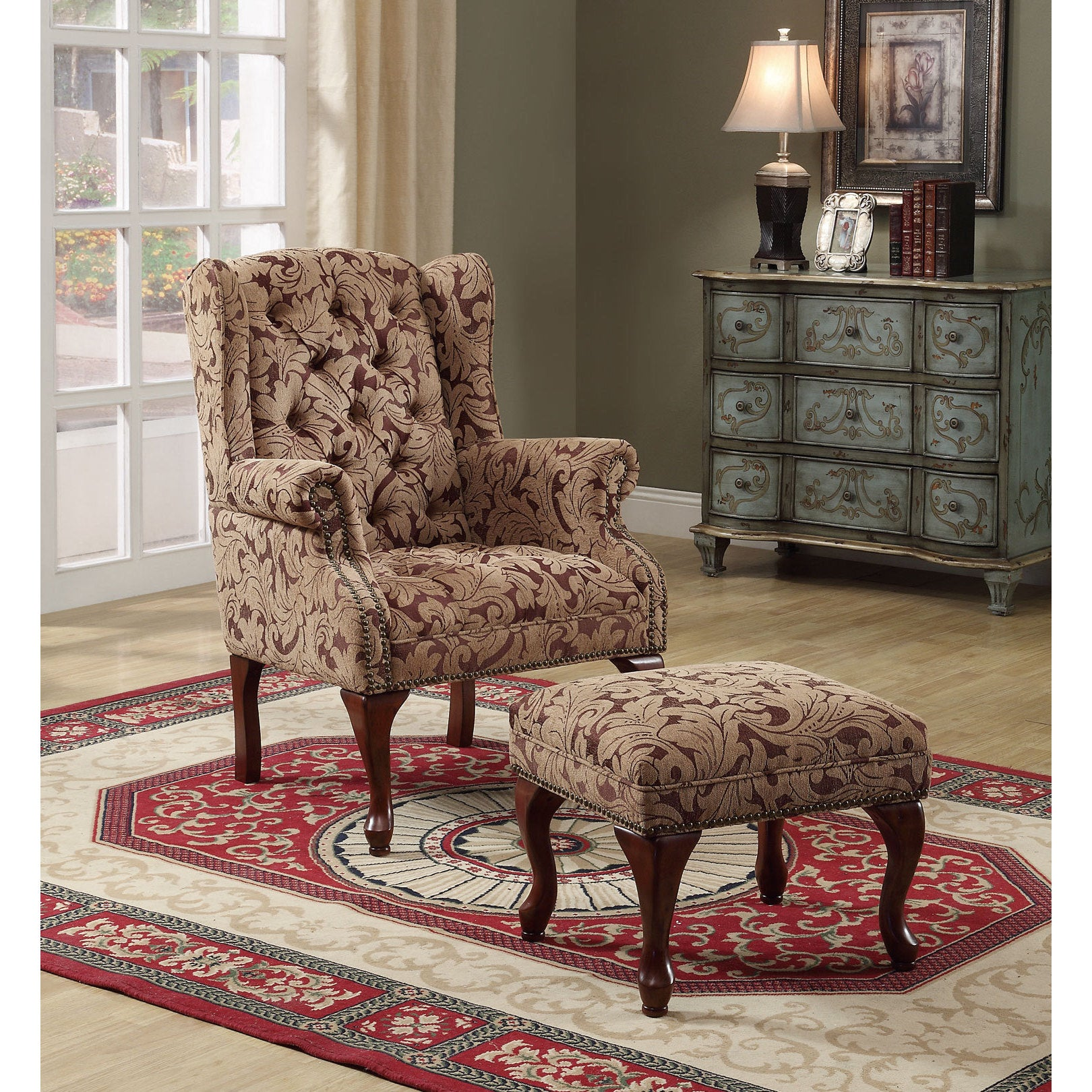 Coaster Furniture Floral Button Tufted Wing Chair and Ott...