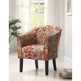 Orange and Grey Floral Accent Chair