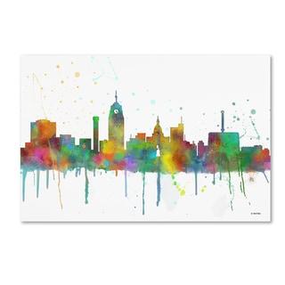 Marlene Watson 'Lansing Michigan Skyline Mclr-1' Canvas Art