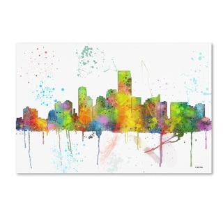 Marlene Watson 'Jersey City New Jersey Skyline Mclr-1' Canvas Art