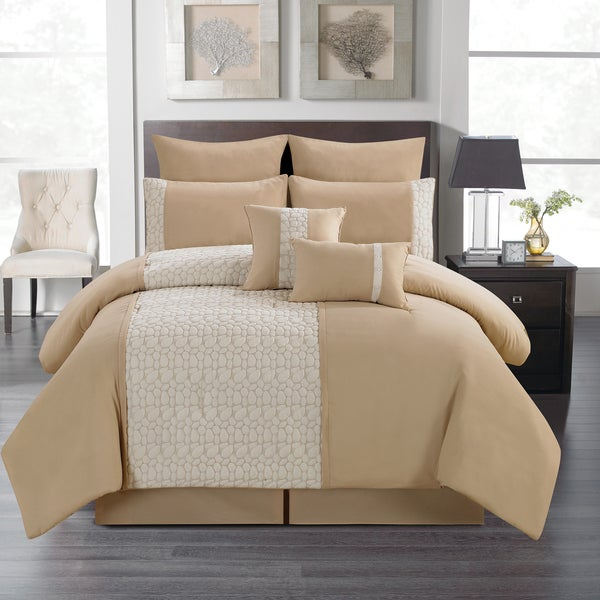 Pebble Stone by Artistic Linen 8-piece Quilted and Embroidered Comforter Set