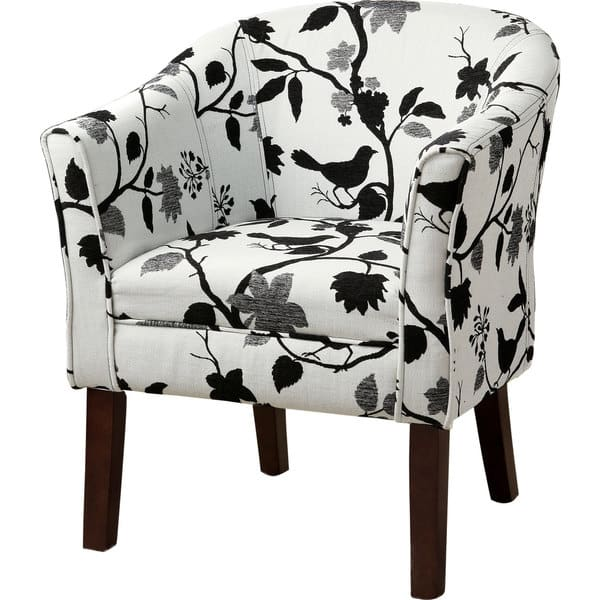 Incredible Coaster Company Black And White Bird Print Accent Chair 27 X 25 50 X 33 Theyellowbook Wood Chair Design Ideas Theyellowbookinfo