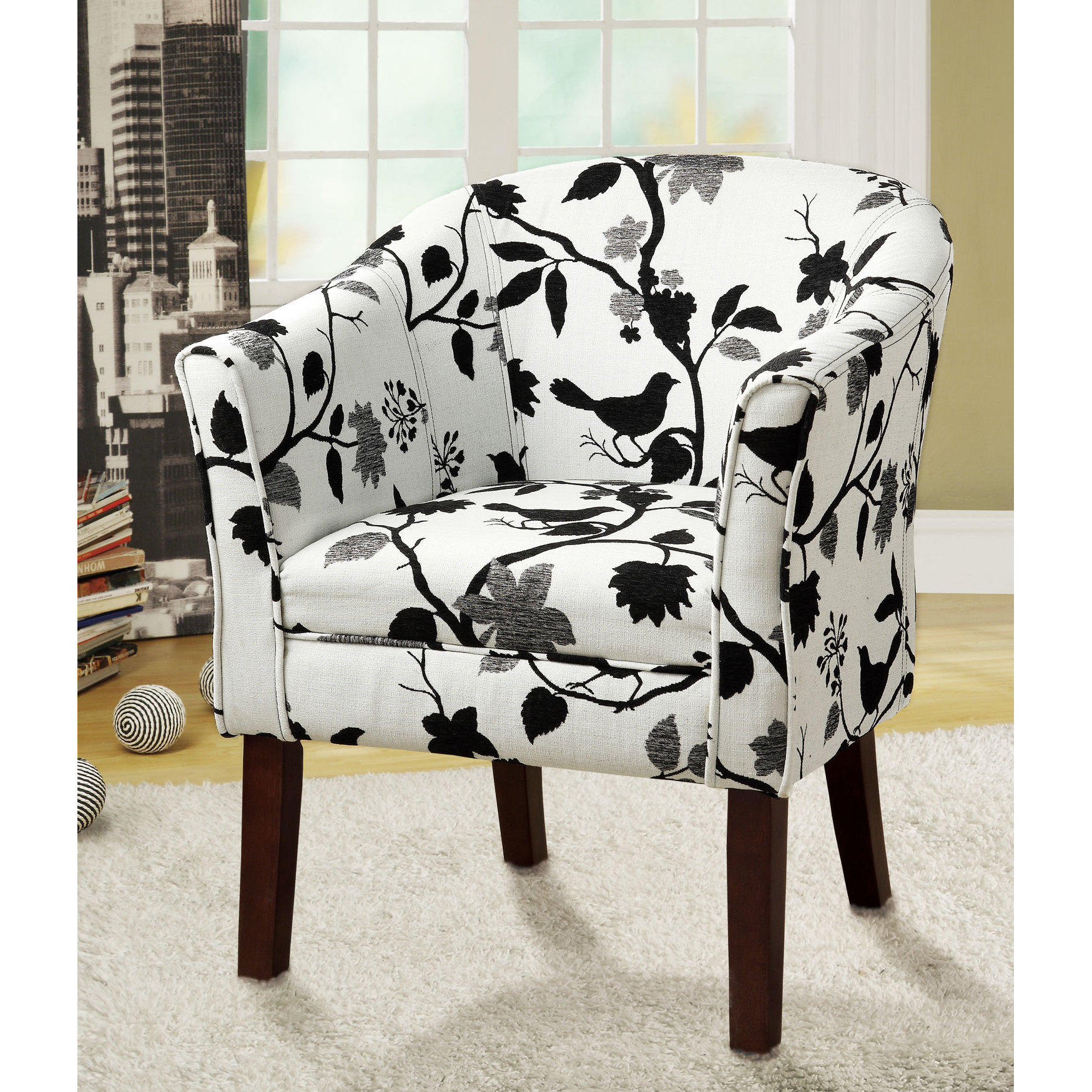 Coaster Company Black And White Bird Print Accent Chair 21032250898