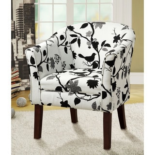 Black and White Bird Print Accent Chair