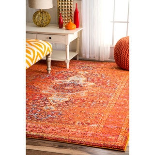nuLOOM Distressed Traditional Vintage Medallion Orange Rug (5'3 x 7'7)