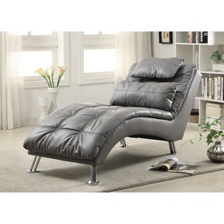 Coaster Company Grey/Chrome Leatherette Chaise