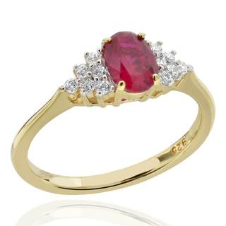 Sterling Silver 14Kt Gold-Plated Created Ruby & Cubic Zirconia Ring