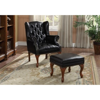 Black Vinyl and Cherry Finish Tufted Wing Chair and Ottoman Set