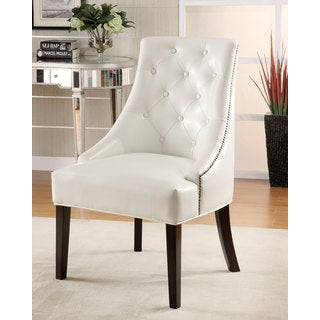 White Vinyl Half Arm Accent Chair